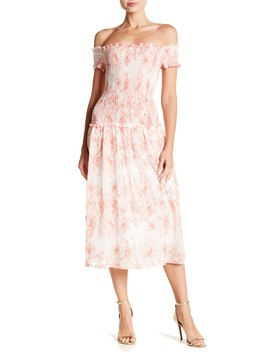 Smocked Gauze Off The Shoudler Midi Dress by Max Studio