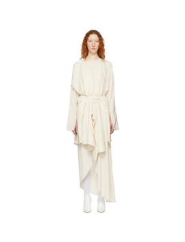 Ivory Draped Dress by A.W.A.K.E.