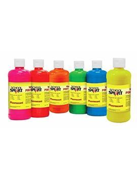 School Smart 1439240 Non Toxic Washable Tempera Paint Set, 1 Pint Plastic Bottle, Assorted Fluorescent Color (Pack Of 6) by School Smart
