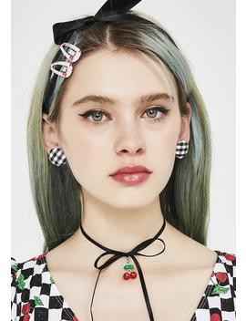 Dark Makin' Memories Gingham Earrings by Ana Accessories