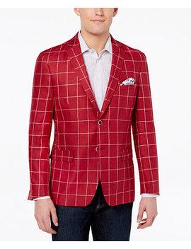 Orange Men's Modern Fit Red Windowpane Sport Coat by Tallia