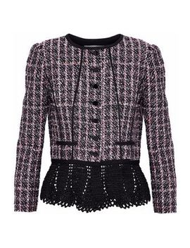 Crochet Trimmed Sequin Embellished Tweed Peplum Jacket by Oscar De La Renta