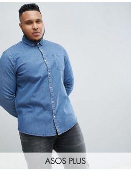 Asos Design Plus Stretch Slim Denim Shirt In Mid Wash by Asos Design