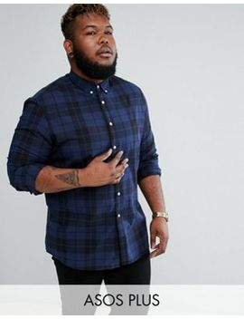 Asos Design Plus Stretch Slim Poplin Check Shirt In Blue by Asos Plus