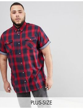 Duke Plus Short Sleeve Shirt In Red Check With Pockets by Duke