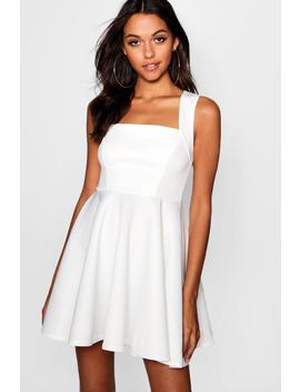 Square Neck Skater Dress by Boohoo