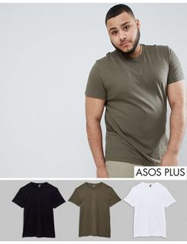 Asos Design Plus T Shirt With Crew Neck 3 Pack Save by Asos Design