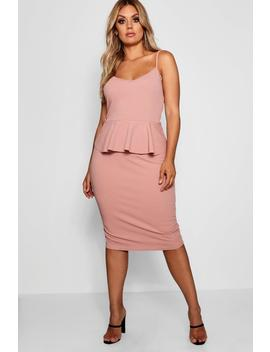 Plus Strappy Peplum Midi Dress by Boohoo