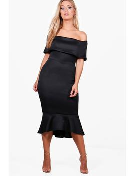 Plus Off The Shoulder Peplum Midi Dress by Boohoo