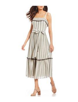 Stripe Flounce Pom Pom Ruffle Midi Dress by Generic