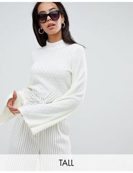 Fashion Union Tall High Neck Knitted Top With Flared Sleeves by Fashion Union