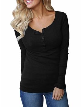 Womens Henley Shirts Long Sleeve Casual Ribbed Scoop Neck Button Up Thermal Cotton Top by Geckatte