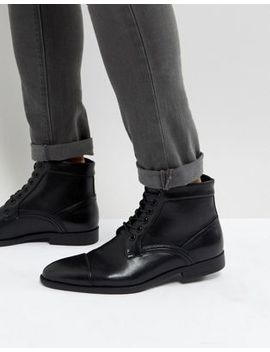 Asos Lace Up Boots In Black Faux Leather by Asos
