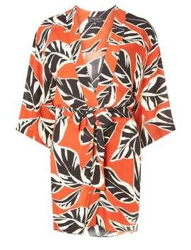Orange Leaf Print Kimono by Dorothy Perkins