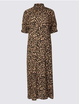 Animal Print Half Sleeve Shift Midi Dress by Tracked Express Delivery: