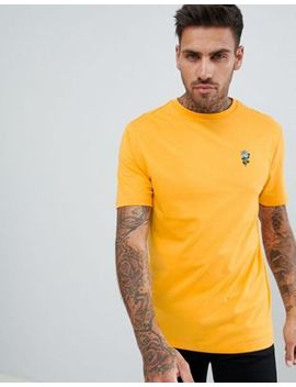 River Island T Shirt With Swallow Embroidery In Yellow by River Island