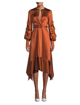 Fluid Satin Keyhole Asymmetric Midi Dress by Jonathan Simkhai