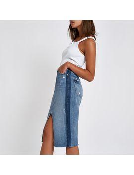 Mid Blue Premium Split Front Denim Midi Skirt by River Island