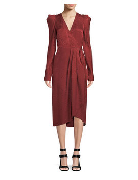 Carolina Pleated Long Sleeve Silk  Wrap Dress by A.L.C.