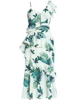 Inez Ruffled Printed Crepe De Chine Midi Dress by W118 By Walter Baker
