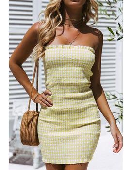 Plaid Pattern Strapless Bodycon Dress by Lupsona