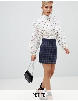 Fashion Union Petite Mini Skirt In Check by Fashion Union