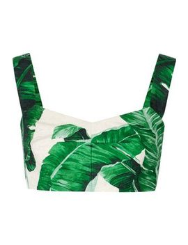 Printed Cotton And Silk Blend Bra Top by Dolce & Gabbana