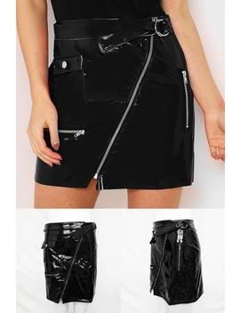 Sexy Zipper Patent Leather Package Hip Skirt by Lupsona