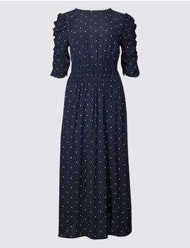 Star Print Half Sleeve Swing Midi Dress by Marks & Spencer