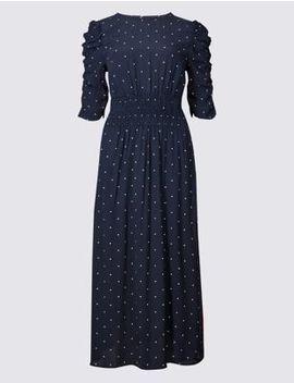 Star Print Half Sleeve Swing Midi Dress by Marks & Spencer