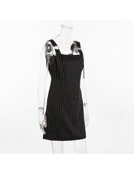 Metal Ring Straps Stripes Mini Dress by Lupsona