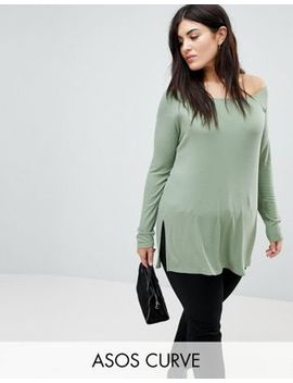 Asos Curve Off Shoulder Top In Longline Slouchy Rib by Asos Curve