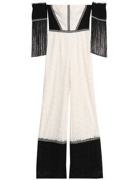 Off The Shoulder Fringe Trimmed Corded Lace Jumpsuit by Alexis