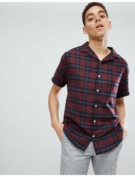 Mennace Burgundy Revere Collar Checkered Shirt by Mennace