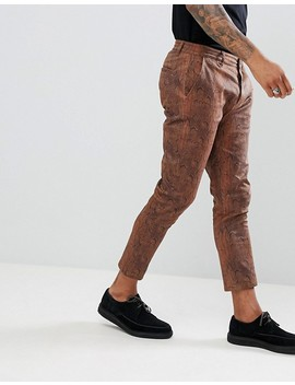 Asos Design Slim Cropped Trousers In Snake Print by Asos Design