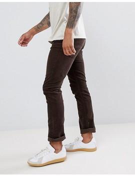 Nudie Jeans Co Grim Tim Slim Trousers Velvet Choko by Nudie