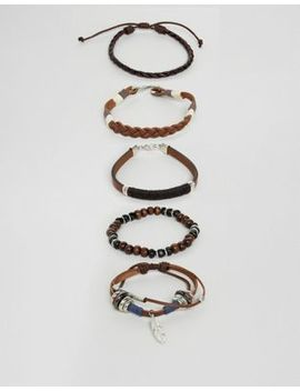 Asos Design Leather Bracelet Pack With Feather by Asos Design