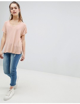 Asos Design Petite T Shirt With Drapey Batwing Sleeve In Pink by Asos Design