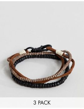 Icon Brand Brown Leather & Beaded Bracelets In 3 Pack by Icon Brand