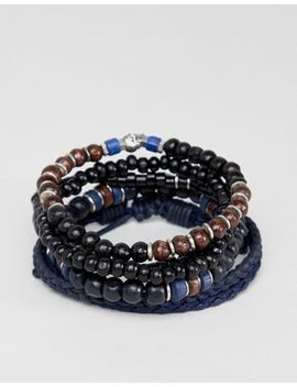 Asos Design Navy Bracelet Pack With Beads And Skull In Brown And Black by Asos Design
