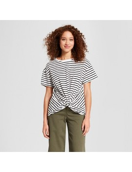 Women's Striped Short Sleeve Twist Front With Ruched Back T Shirt   A New Day™ White/Black by A New Day™