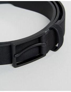 Asos Plus Smart Slim Belt In Black Faux Suede by Asos