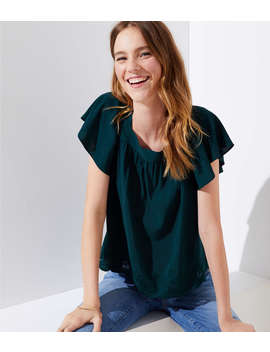 petite-scalloped-shirred-square-neck-top by loft