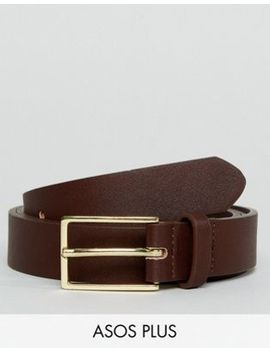 Asos Plus Smart Faux Leather Slim Belt In Brown by Asos