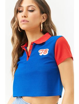 78 Textured Colorblock Cropped Polo Shirt by Forever 21