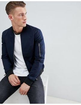 Asos Design Muscle Fit Bomber Jacket With Sleeve Zip In Navy by Asos Design