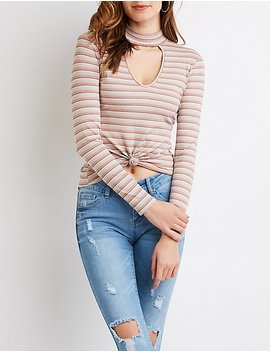 Striped Choker Neck Cut Out Top by Charlotte Russe