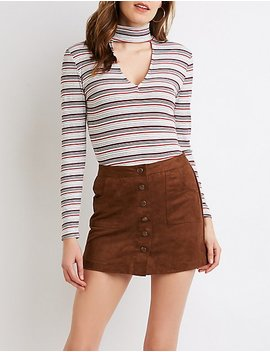 Ribbed Knit Mock Neck Cut Out Top by Charlotte Russe