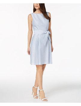 Shadow Stripe Fit & Flare Dress by Anne Klein