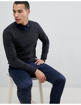 Burton Menswear V Neck Jumper In Grey by Burton Menswear London